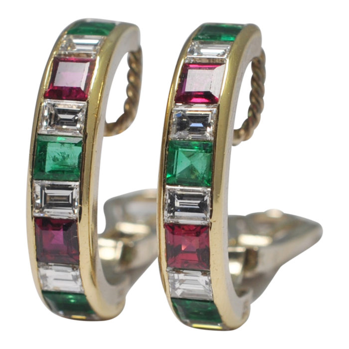 Emerald Ruby Diamond Gold Hooped Earrings