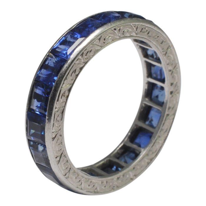 Carré Cut Sapphire Platinum Eternity Ring