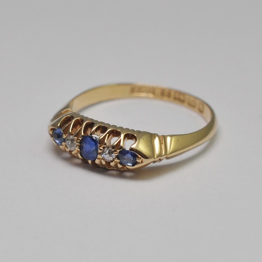 Antique Victorian Sapphire Diamond 18ct Gold Ring Sold