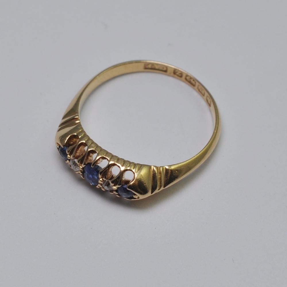 Antique Victorian Sapphire Diamond 18ct Gold Ring Plaza
