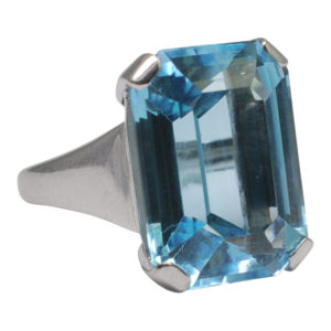 Blue Topaz Cocktail Gold Ring