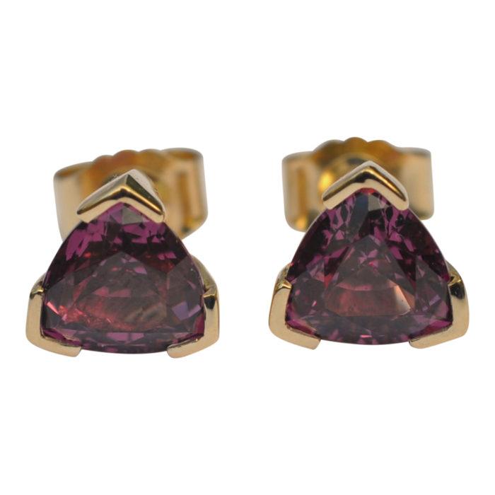 Rhodolite Garnet Gold Ear Studs