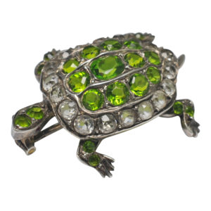 French Antique 19th Century Silver Paste Turtle Brooch