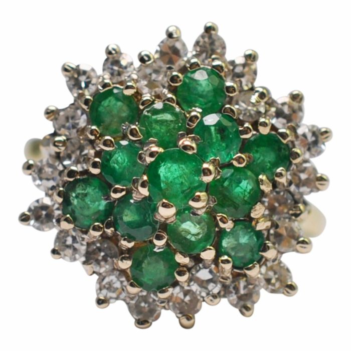 Emerald Diamond 18ct Gold Cluster Ring