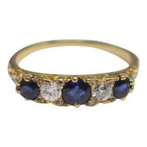 Antique Victorian Sapphire Diamond Gold Band Ring