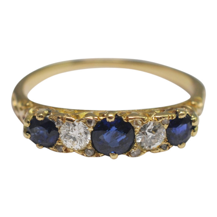 Antique Victorian Sapphire Diamond Gold Band Ring