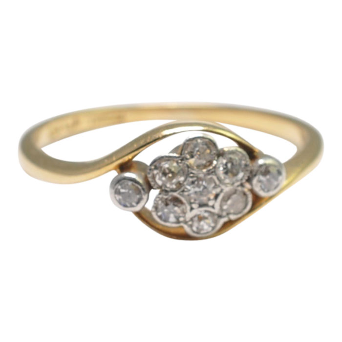 Antique Victorian Diamond 18ct Gold Cluster Ring