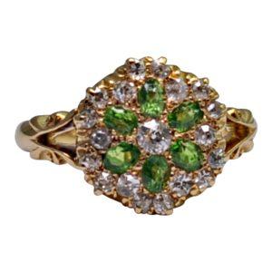 Edwardian Demantoid Garnet Diamond Gold Engagement Ring