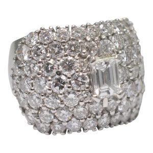 Emerald Cut Diamond Platinum Band Ring