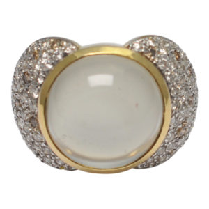 Moonstone Diamond 18ct Gold Ring