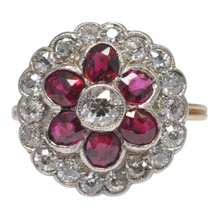 Certified Burma Rubies Diamonds Platinum Gold Ring
