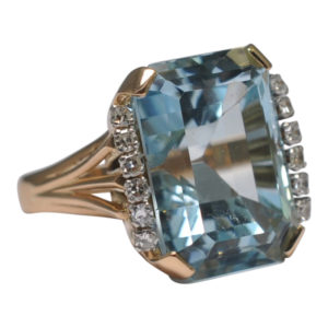 Aquamarine Diamond Gold Cocktail Ring