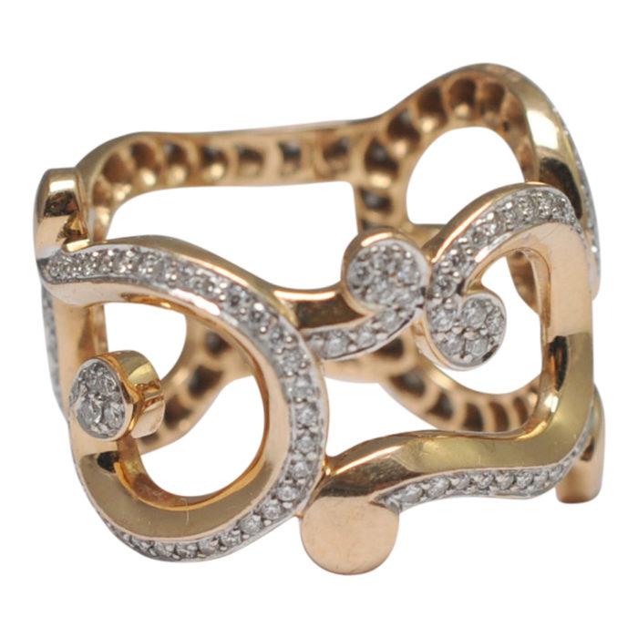 Fabergé Rose Gold Diamond Rococo Ring