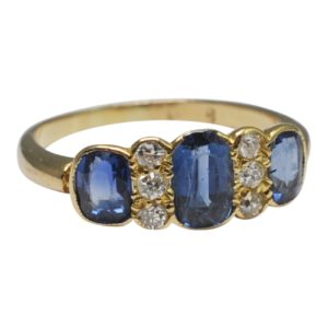 Edwardian Sapphire Diamond Gold Engagement Ring