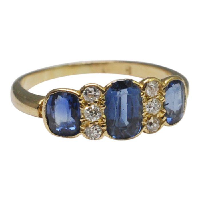 Edwardian Sapphire Diamond Gold Engagement Ring