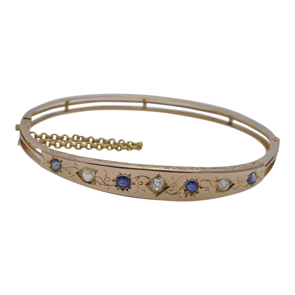 Victorian Sapphire Diamond Gold Bangle Plaza Jewellery