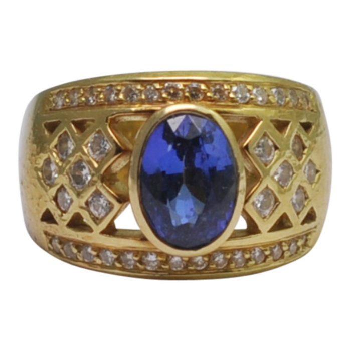 Tanzanite Diamond Gold Band Ring