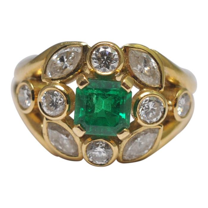 Certified Columbian Emerald Diamond Gold Ring