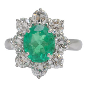 Columbian Emerald Diamond Cluster Ring