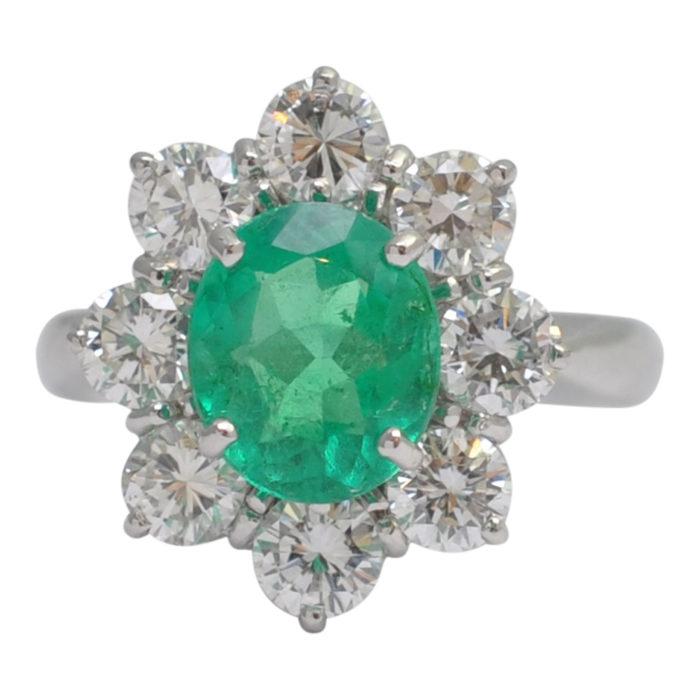 Columbian Emerald Diamond Cluster Ring