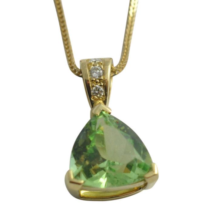 Mint Tourmaline Diamond Gold Pendant
