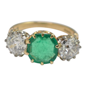 Boodles Certified Columbian Emerald Diamond 3 Stone Gold Ring