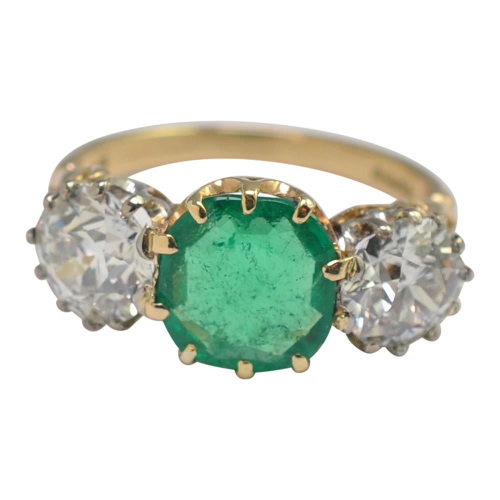 Boodles Certified Columbian Emerald Diamond 3 Stone Gold ... - photo#43
