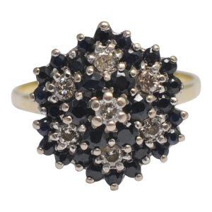 Sapphire Diamond Flower Gold Ring