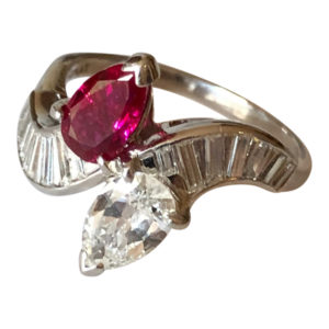 Cartier Burmese Ruby Diamond Platinum Ring