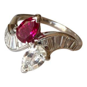 Cartier Burmese Ruby Diamond Platinum Ring