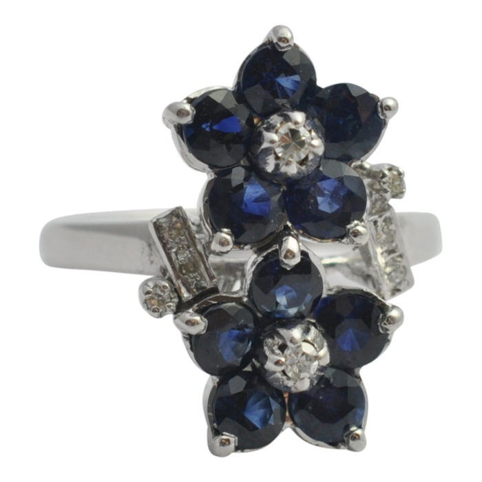 Sapphire Diamond Double Flower Ring