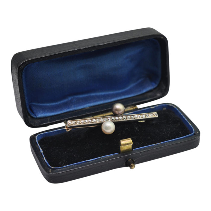 Antique Victorian Diamond Natural Pearl Brooch