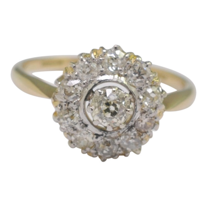 Antique Edwardian Diamond Cluster Engagement Ring