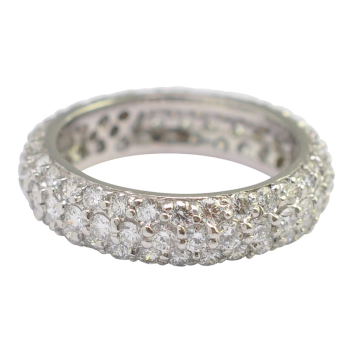 Triple Row Diamond Platinum Eternity Ring