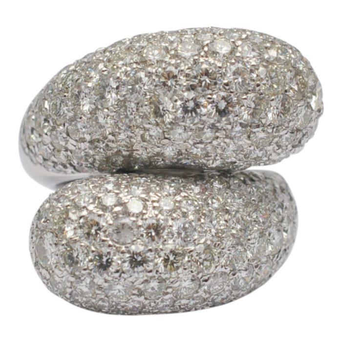 Diamond Double Bombé Gold Ring