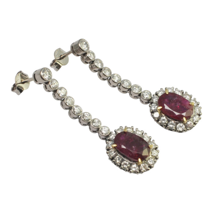 Ruby Diamond Gold Pendant Earrings
