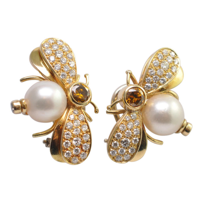 Diamond Gold Pearl Bee Earrings