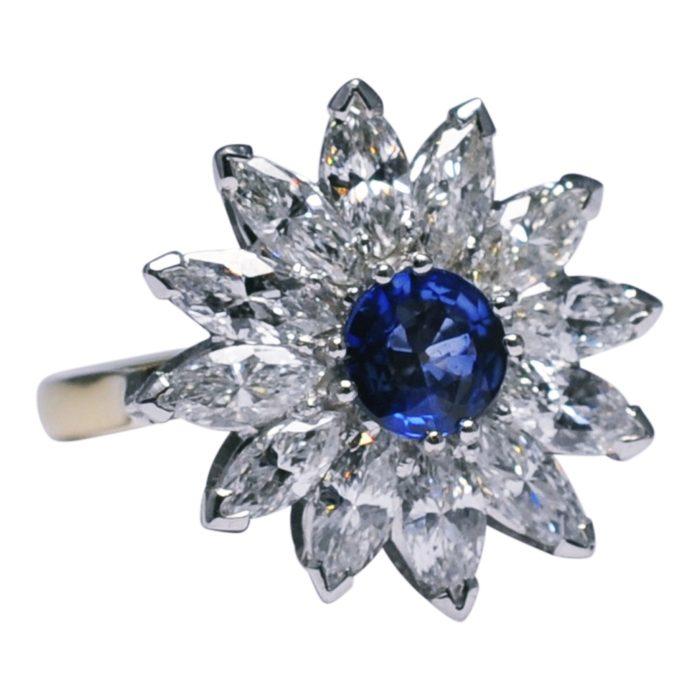 Marquise Diamond Sapphire Gold Flower Ring