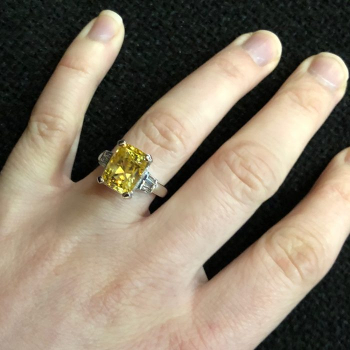Certificated Yellow Natural Sapphire Diamond Gold Ring