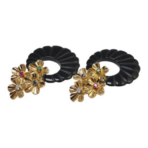 French Night and Day Gold Gem Set Onyx Earrings