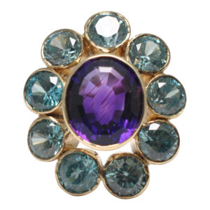 Amethyst Blue Zircon Gold Cocktail Ring
