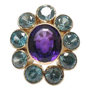 Amethyst Blue Zircon Gold Cocktail Ring