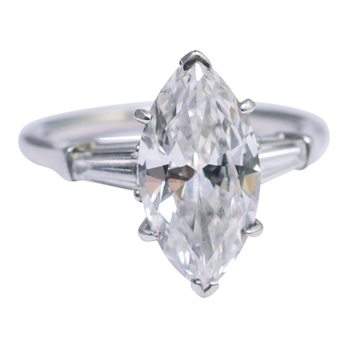 GIA Certified Harry Winston 2.39ct Marquise Solitaire Platinum Ring