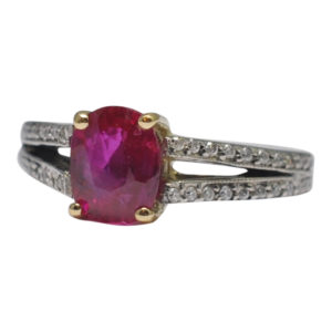 Certified Burma Ruby Diamond Gold Ring