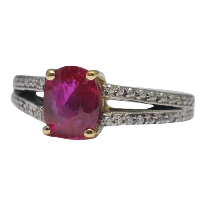 Certified Burma Ruby Diamond Gold Ring