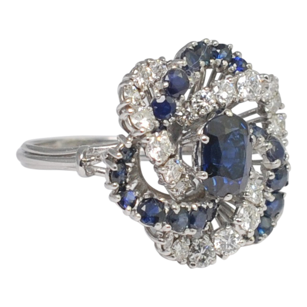 Sapphire Diamond Gold Swirl Cocktail Ring Plaza Jewellery