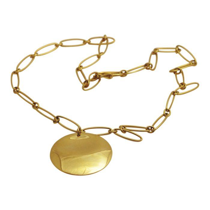 Elsa Peretti Tiffany & Co Gold Disc Necklace