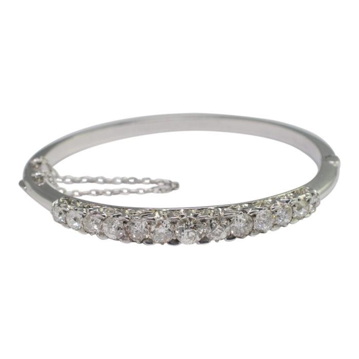 Edwardian Diamond Half Hoop Gold Bangle