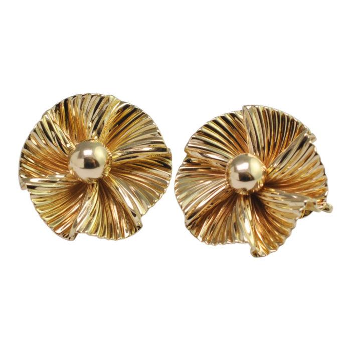 Tiffany & Co. Gold Flower Clip On Earrings