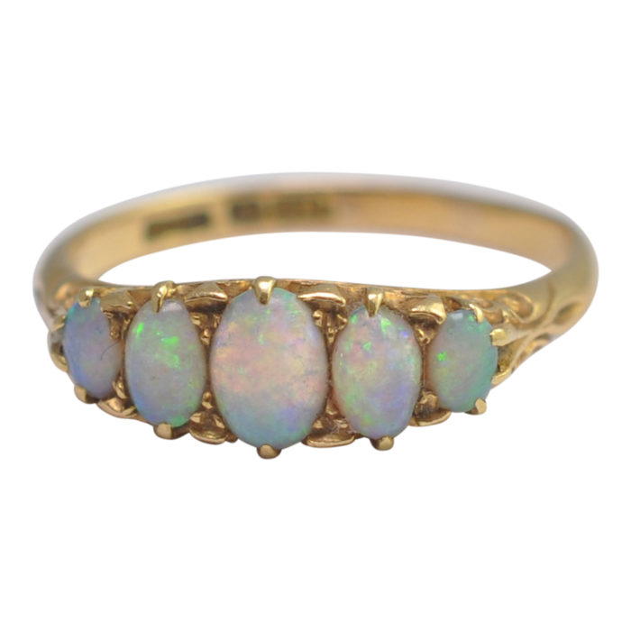 Victorian 5 Stone Opal Gold Ring